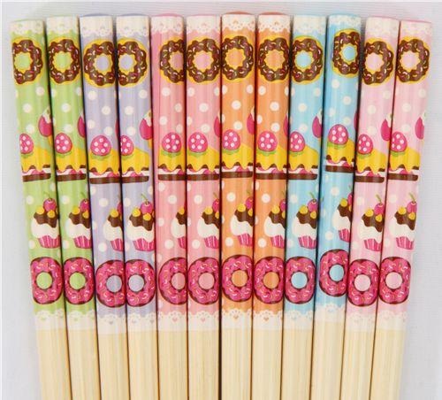 Sweets Chopsticks set 6 pairs cupcake donuts 1