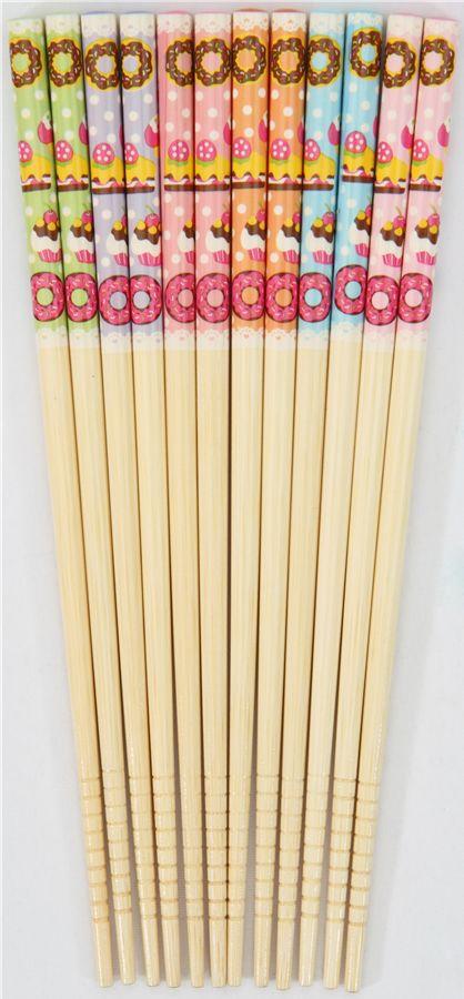Sweets Chopsticks set 6 pairs cupcake donuts 2
