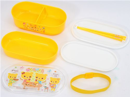 Yellow Bento Box Bear Family kawaii lunch box 3