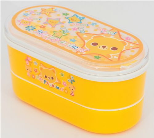 cute yellow bento box with a bear