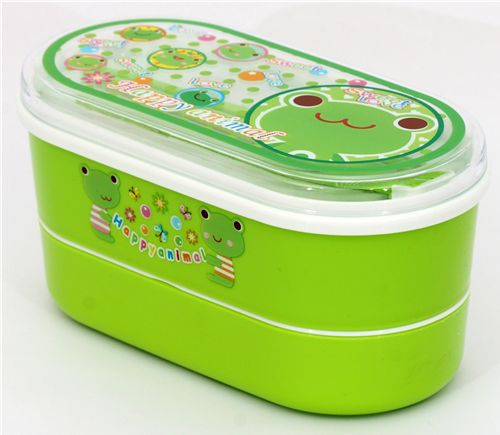 cute green bento box with frog