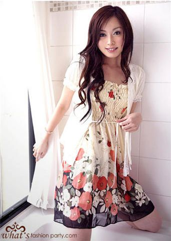 Elysia Ruirinto Cute-Chiffon-Flower-dress-Japan-red-flowers-11096-1