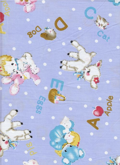 cute fabric with lambs and bunnies
