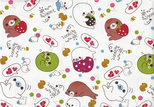 cute fabric with Mamegoma baby seals